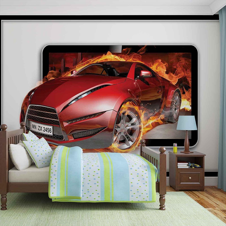 Tapeto Fototapete - Sportwagen Flamen - Vlies 416 x 254 cm (Breite x Höhe) - Wandbild Feuer Geschwindigkeit Auto