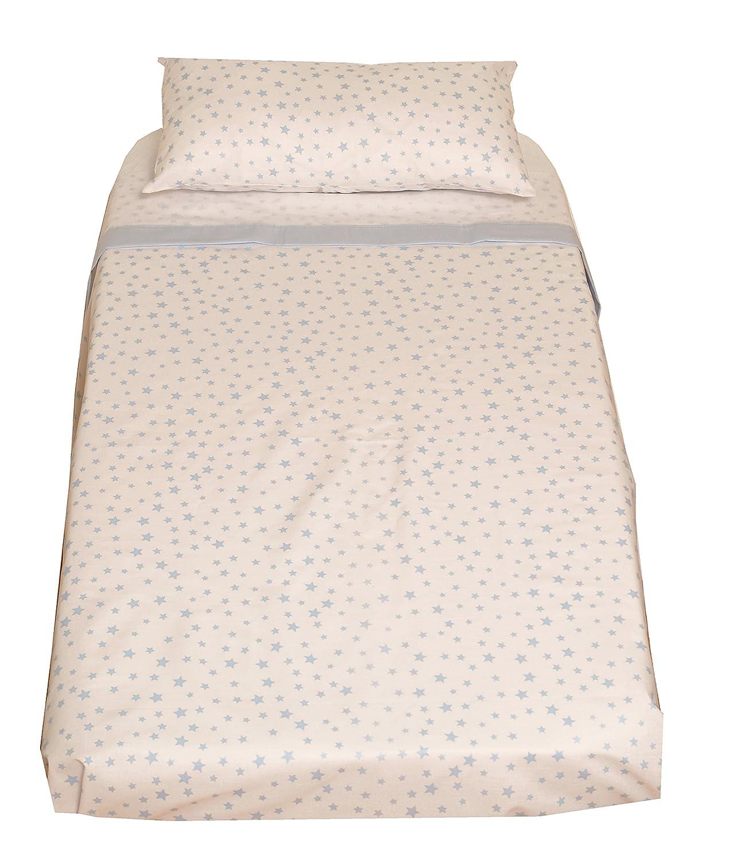 Encimera + Bajera Ajustable con El/ásticos + Funda Almohada Popel/ín 100/% Algod/ón 50x80 cm Ti TIN Juego de S/ábanas de Minicuna de 3 Piezas