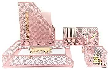 Charmant Amazon.com : Blu Monaco Pink Desk Organizer For Women   5 Piece Desk  Accessories Set   Letter   Mail Organizer, Sticky Note Holder, Pen Cup,  Magazine File ...