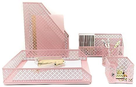 Bon Blu Monaco Office Supplies Pink Desk Accessories For Women 5 Piece Desk  Organizer Set