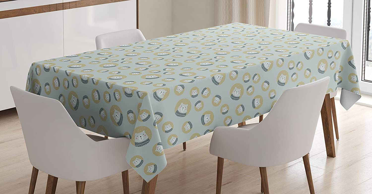 Ambesonne Nordic Tablecloth, Scandinavian Pattern with Polar Bears Finnish Design, Rectangular Table Cover for Dining Room Kitchen Decor, 60