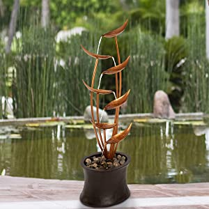 Pure Garden 50-LG1179 7-Tier Fountain – Modern Decorative Polyresin and Metal Electric Outdoor Hand Painted Cascading Water Feature with 1 Gallon Capacity