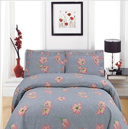 Bon Premium Flower Bed Sheets Set   T400 100% COTTON Printed, 4 Piece Sets,