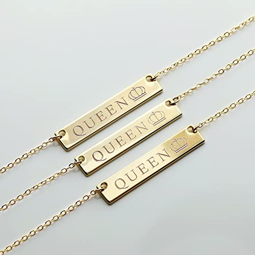 Gold Queen Necklace Name Plate Bar Gold Necklace Birthday Gift for Her  Anniversary Gift Sister Necklace Mom Necklace Queen Crown Pendant Necklace  -