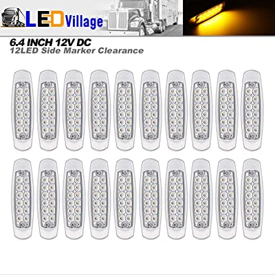 20 Pcs LedVillage 12V DC 6.4 Inch Clear Lens Amber LED Side Marker Clearance Lamp Waterproof Flush Mount Rectangle Peterbilt Freightliner Heavy Duty Truck Lights Trailer Lorry w/Chrome Universal BB12: Automotive