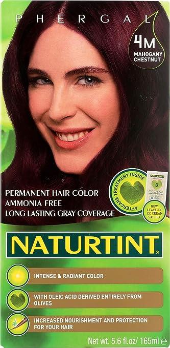Naturtint Permanent 4M, Tinte de Pelo Permanente, Mahogany Chestnut, 165ml
