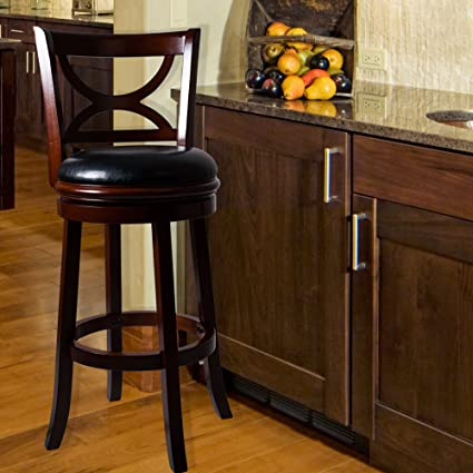 Amazon Com Lavish Home Swivel Bar Stool With Back Dark Wood Finish