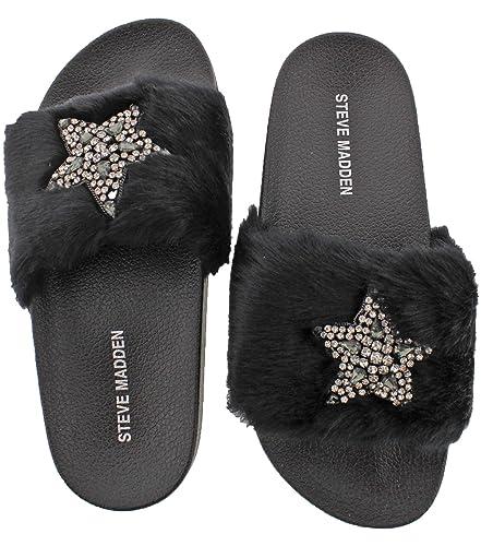 318b7213c0c Steve Madden Women s Shimmer Black Multi Faux Fur Sandal - 5M