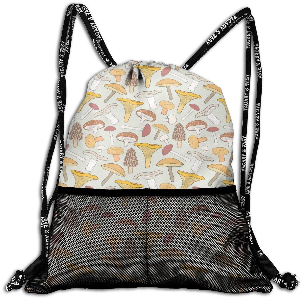 Unisex Drawstring Backpack Edible Mushrooms Yellow Casual Portable Sports Gym Bag Travel Storage Bag