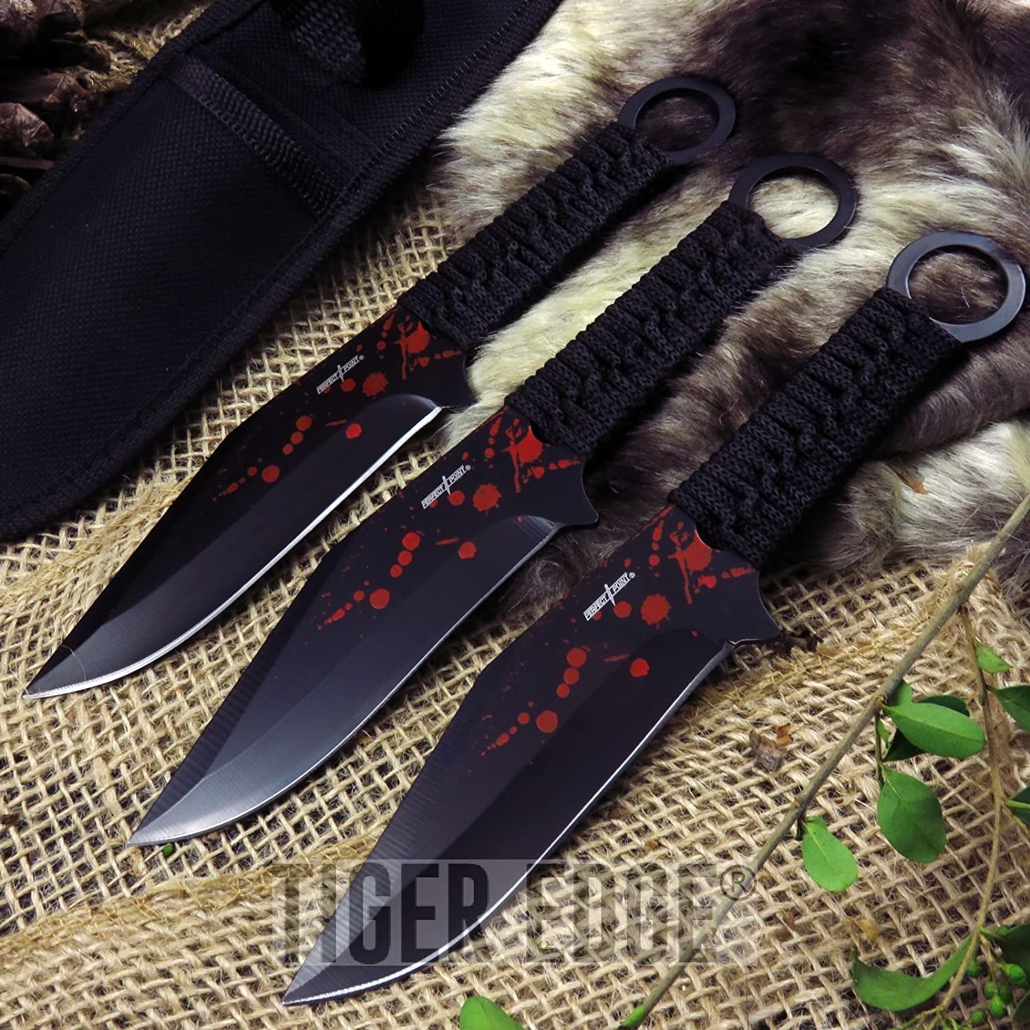 "New THROWING ProTactical'US - Limited Edition - Elite Knife with Sharp Blade Perfect Point 7. 5"" Red Tactical Zombie Ninja 3pc Set + Sheath"