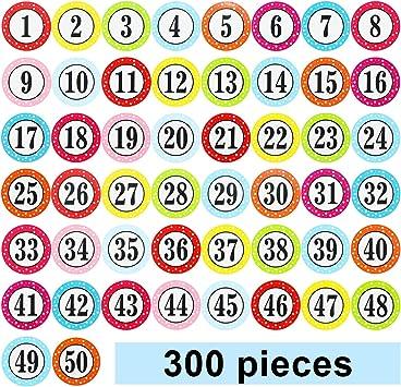 Amazon.com: Pegatinas de números de colores redondos de 1 ...
