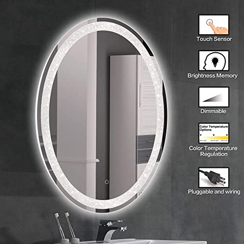 MAGGIIC 28 36 INCH Oval Crystal Inlay Dimmable LED Bathroom Light Mirrors Horizontal Vertical Anti-Fog IP44 Waterproof CRI 90 UL Listed