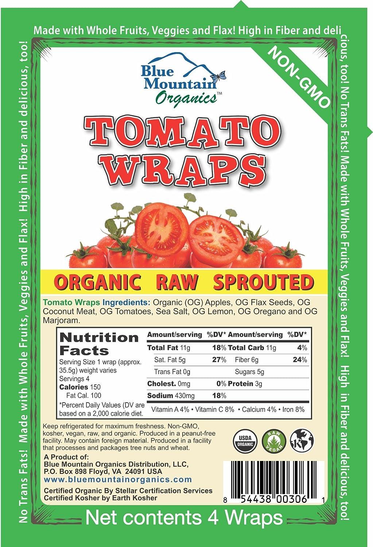 Blue Mountain Organics, Raw, Vegan, Paleo, Tomato Wraps (4 wraps), 5 5oz  (156 g)