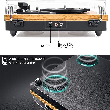 Schallplattenspieler Viflyko Tragbarer Mp3 Plattenspieler Und Digital Encoder Integrierter 2 Stereo Lautsprecher Und Riemenantrieb Aux In