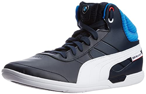c74b97580ed Puma Men s BMW MS MCH Mid BMW Team Blue-White Leather Running Shoes - 13UK