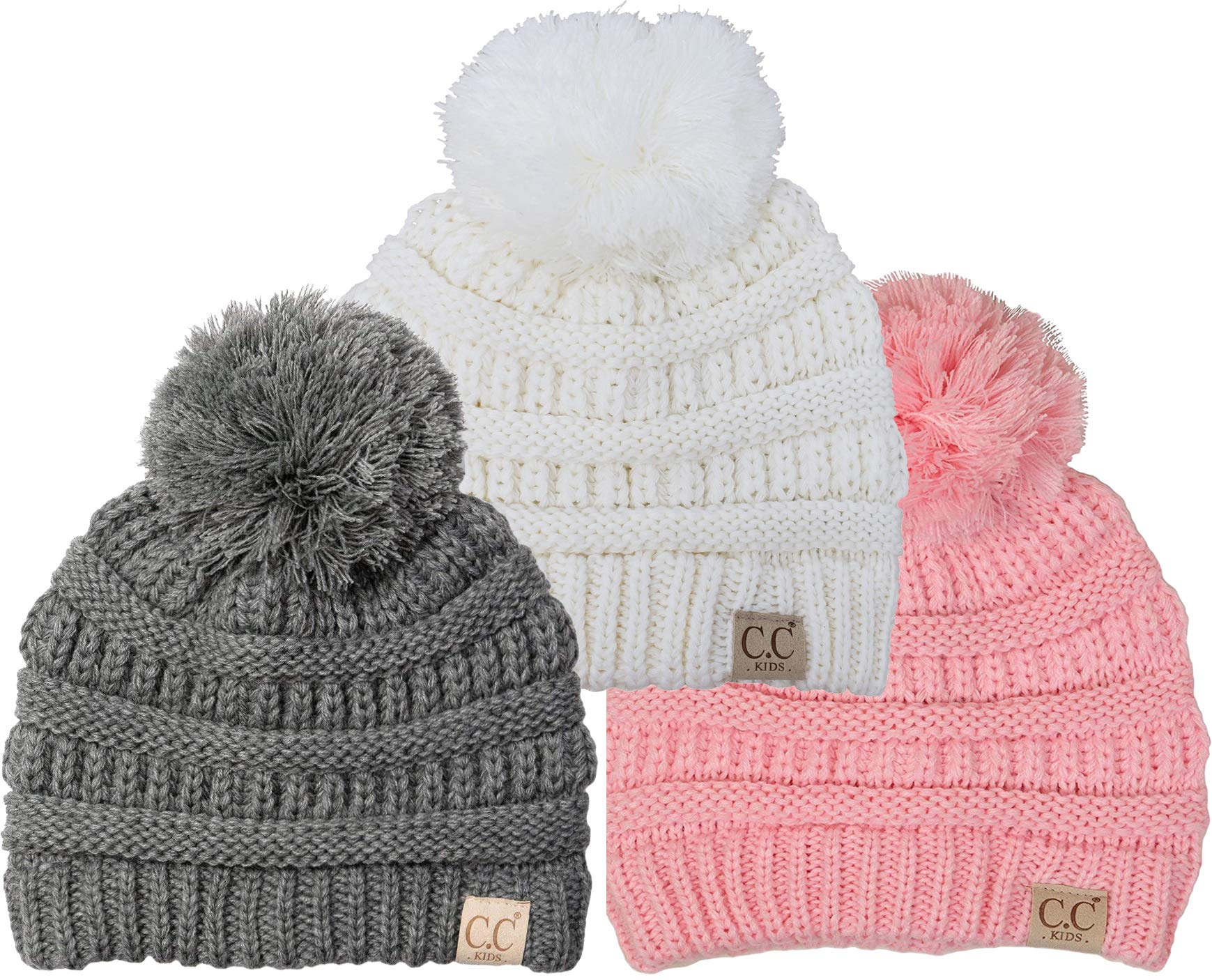H-6847-3-212529 Kids Pom Beanie Bundle: Grey, Ivory, Pale Pink (3 Pack) by Funky Junque