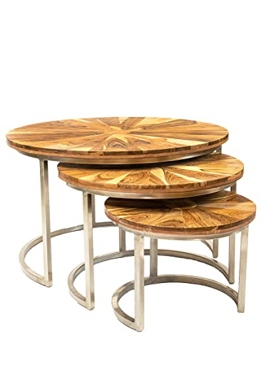 Elegant MAADES Wohnzimmertisch 3er Set Couchtisch Rund Modern Aus Teakholz ø 60cm |  Marokkanischer Runder Vintage Tisch