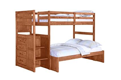Amazon Com Twin Over Full Ranch Stairway Bunk Bed Cinnamon