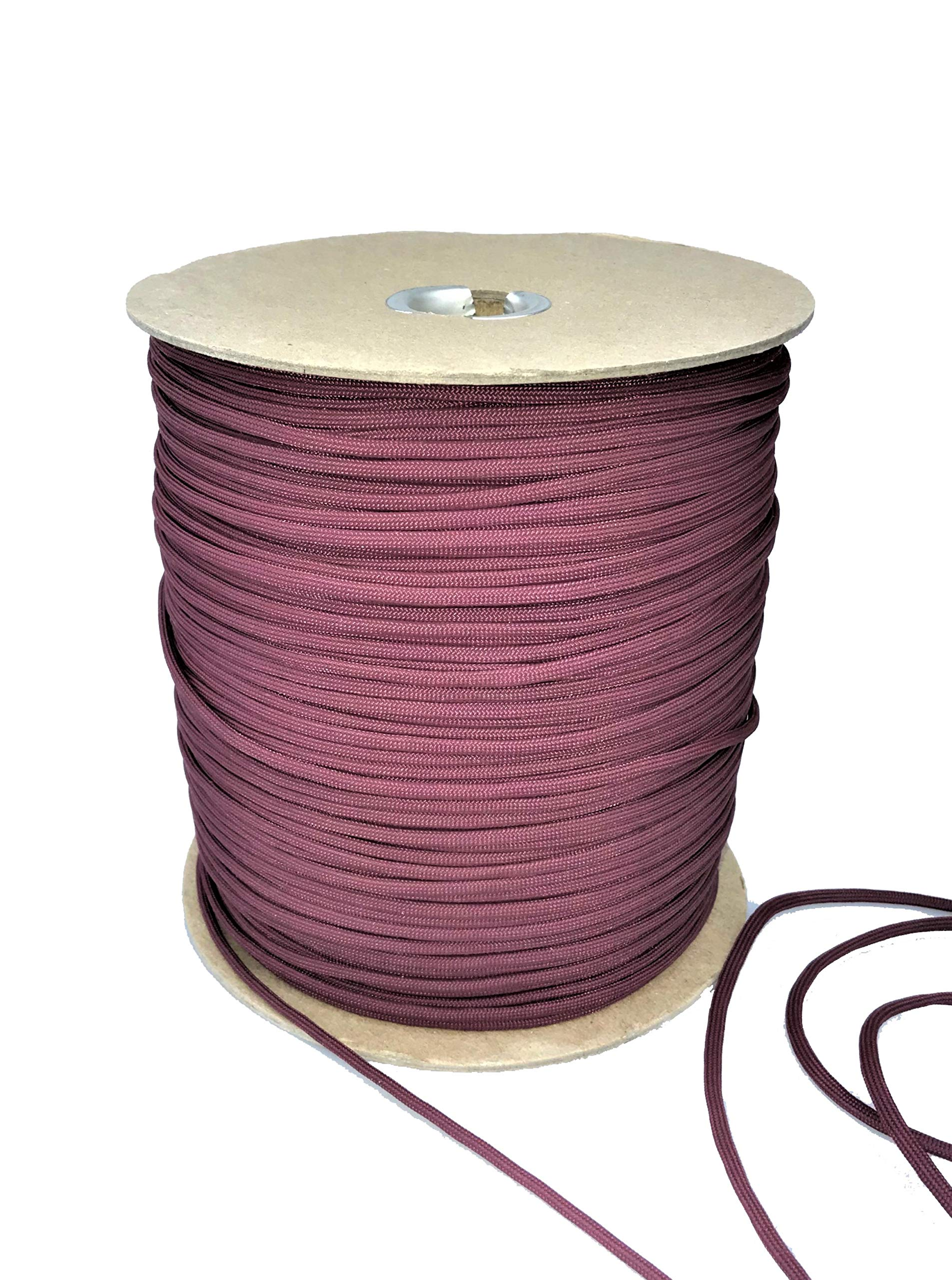 Paracord 550 Type III 7 Strand Multi-Purpose Parachute Cord in 1000 and 100 Foot Spools. Used for Camping, Hiking, Boating, Survival, and Crafting. 100% Nylon-Made in the USA (Burgundy, 1000)