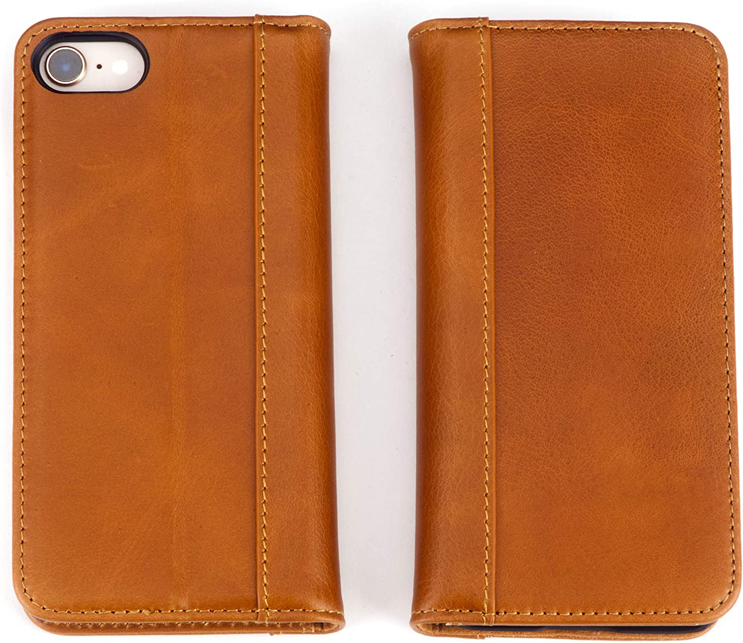 iPhone 8, iPhone 7 (Does NOT fit Plus) by Cherry Tree Leather | Genuine Top-Grain Leather Wallet Case with 4 ID or Card Slots, Stand, and Magnetic Closure | Men and Women (Bourbon Brown)