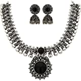 Sasitrends Oxidised German Silver Necklace with Jumki for Women and Girls
