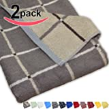 Murphy Bamboo 26.5-Inch-by-13-Inch Luxury Bamboo Kitchen Dish and Hand Towels, Graphite and Gray Plaid (Set of 2)