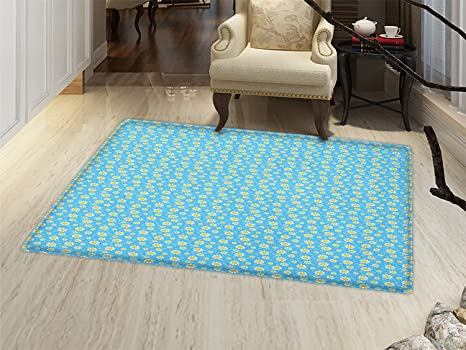Amazoncom Smallbeefly Yellow And Blue Bath Mats For Floors