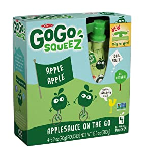 GoGo Squeez appleapple, Applesauce on the Go, 3.2-oz. Pouches, Count of 48