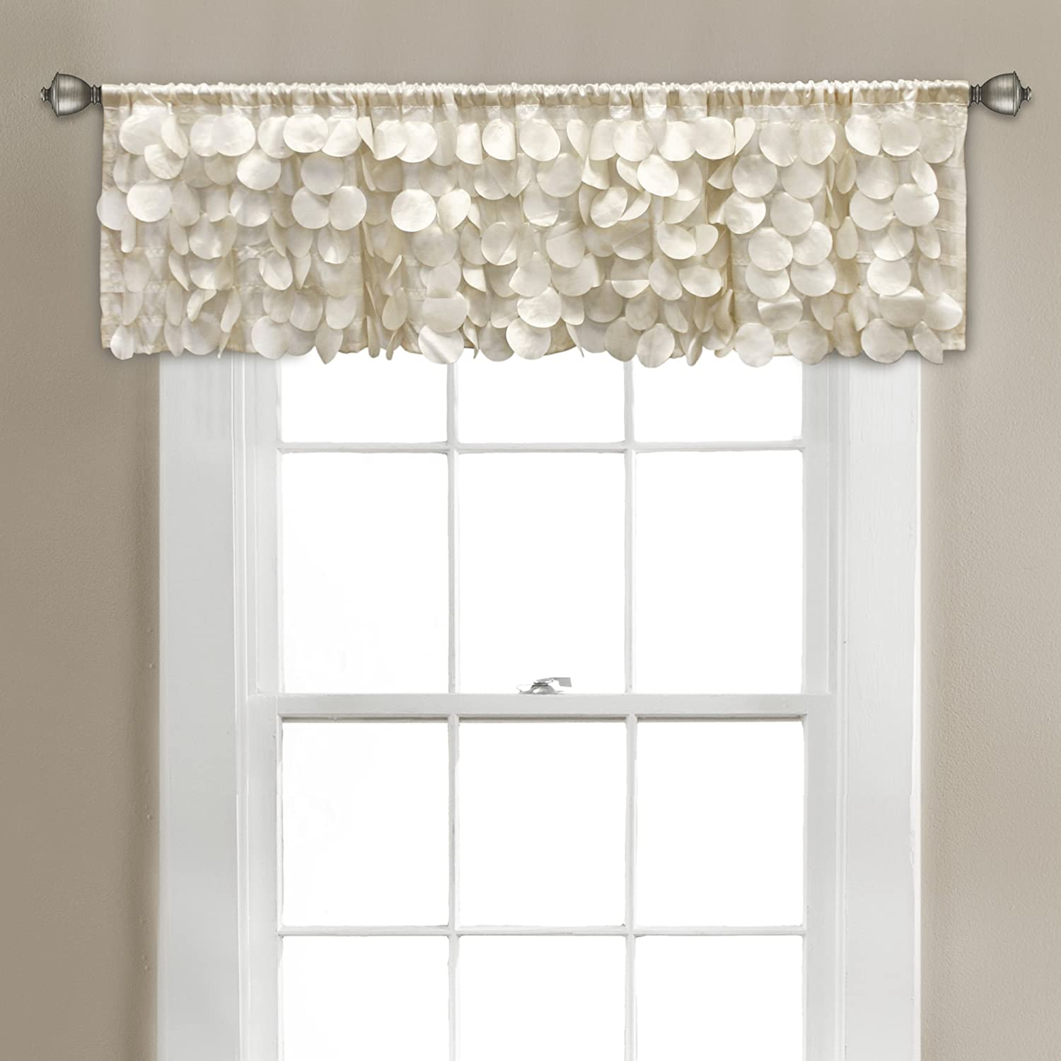"Lush Decor Gigi Valance Textured Window Kitchen Curtain (Single), 14"" x 70"", Ivory"