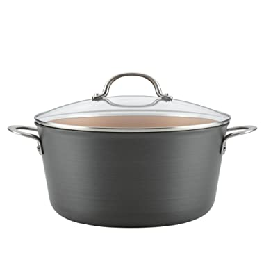 Ayesha Curry 80263 Home Collection Hard Anodized Nonstick Stock Pot/Stockpot with Lid, 10 Quart, Charcoal Gray