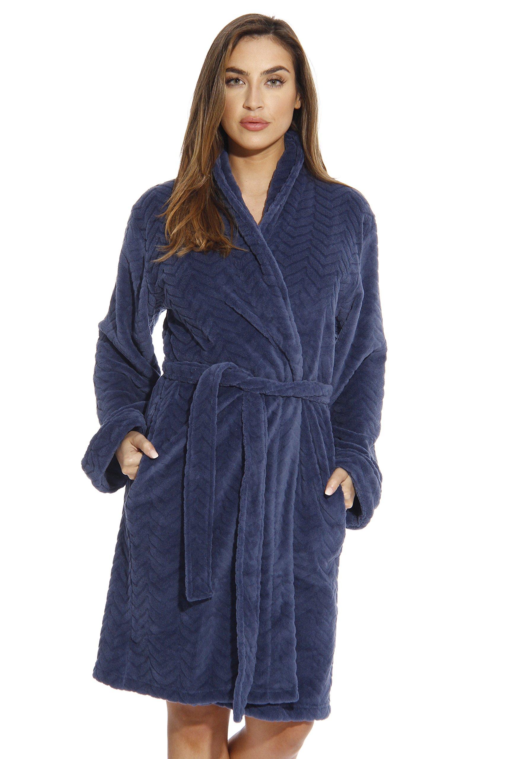 Just Love Kimono Robe Velour Chevron Texture Bath Robes for Women, Navy, Medium by Just Love (Image #1)