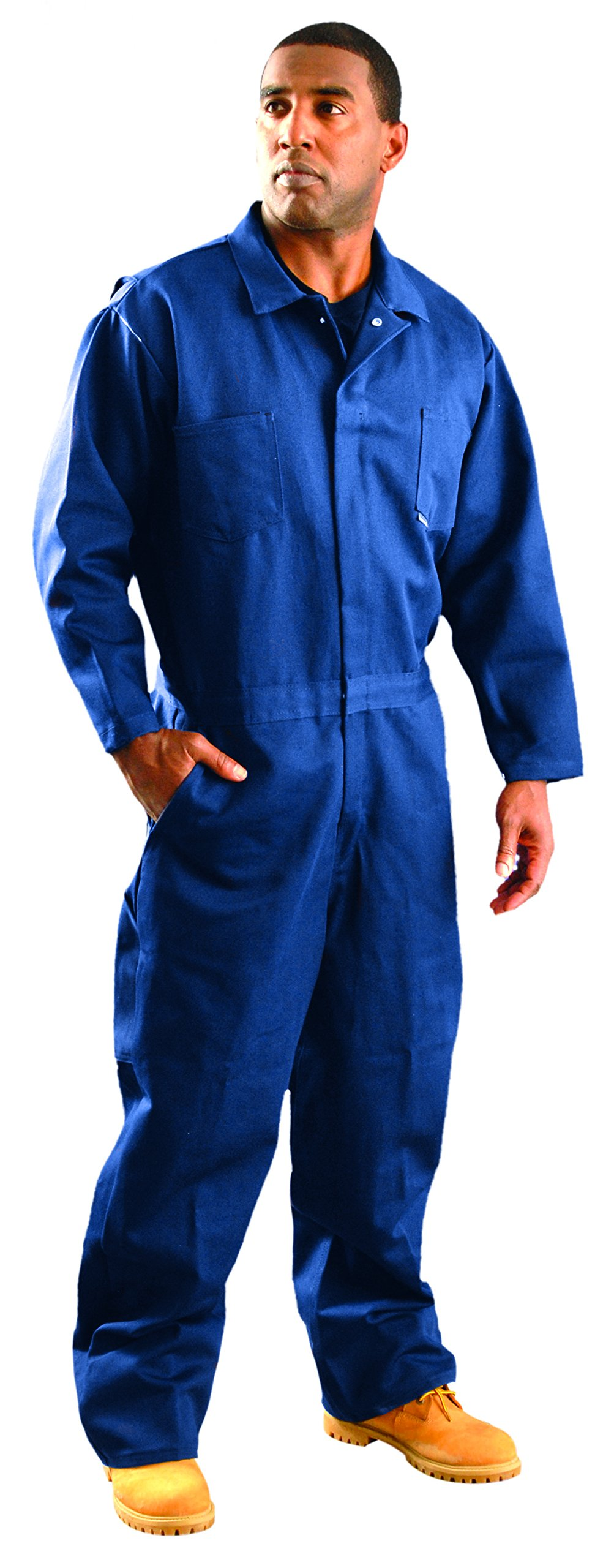 OccuNomix G909INB-S Classic Indura Flame Resistant Coverall HRC 2, 9 oz, Navy Blue, Small