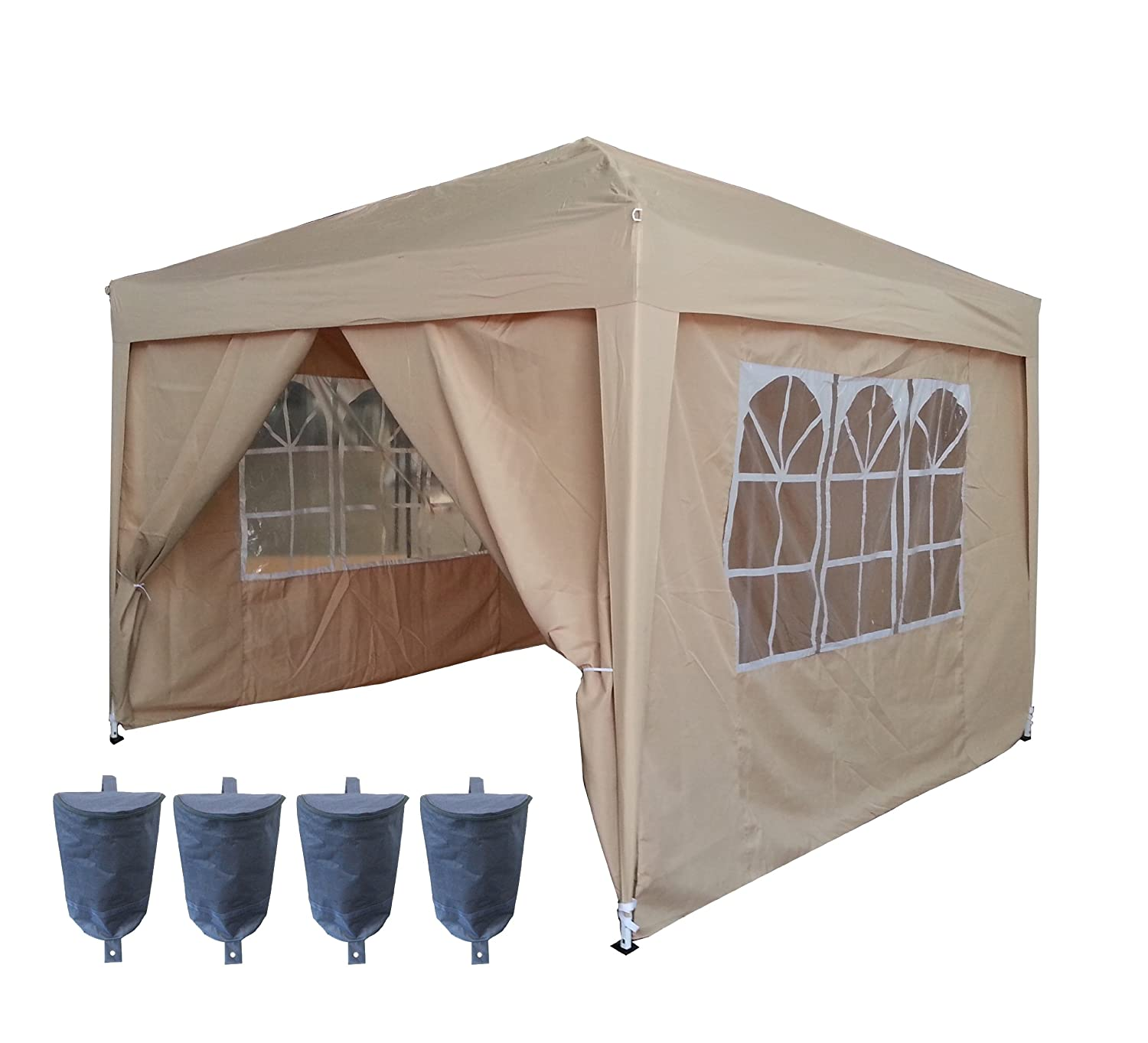 FoxHunter Heavy Duty 100 Waterproof 3 X 3m Pop Up Gazebo Marquee Awning Party Tent Canopy Beige 260g Polyster Steel Frame Two Free Weather Support Beam 4