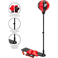 Best Choice Products Kids Adjustable Standing Boxing Punching Ball Set w/ Advanced Spring, Metal Stand, Gloves - Red