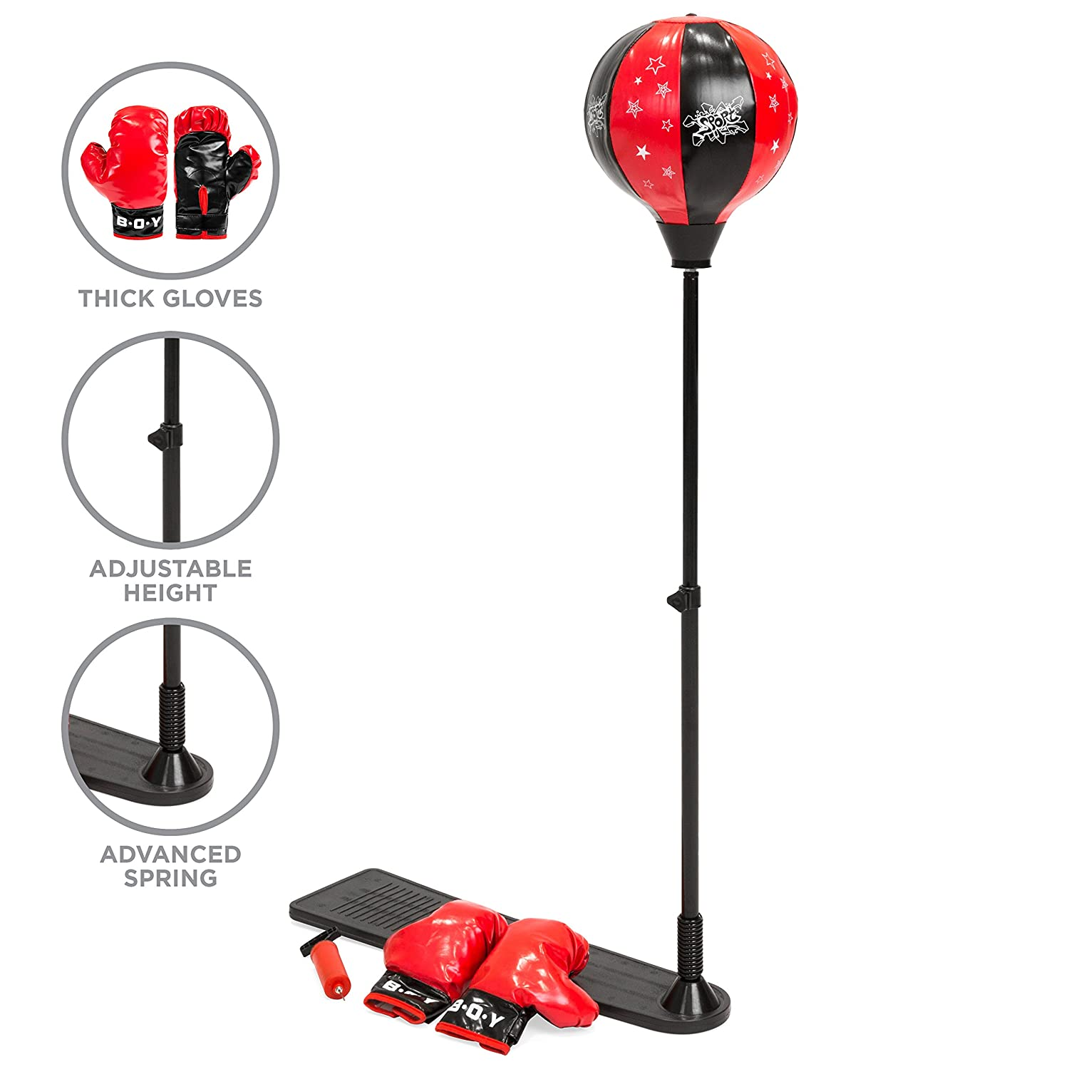 Amazon.com: Best Choice Products Kids Adjustable Standing Boxing Punching Ball Set w/ Advanced Spring, Metal Stand, Gloves - Red: Toys & Games