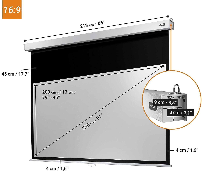 160 x 120 cm celexon manuell ausziehbare Rollo-Beamer-Leinwand Professional Plus Gain 1,2 Full-HD und 4K 4:3