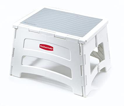 Awe Inspiring Rubbermaid Rm Pl1W Folding 1 Step Plastic Stool 300 Pound Capacity Dailytribune Chair Design For Home Dailytribuneorg