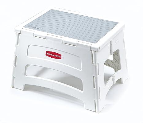 Tremendous Rubbermaid Rm Pl1W Folding 1 Step Plastic Stool 300 Pound Capacity White Machost Co Dining Chair Design Ideas Machostcouk