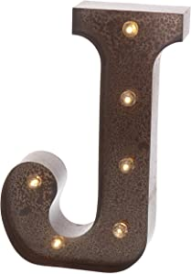 """Barnyard Designs Metal Marquee Letter Flat J Light Up Wall Initial Wedding, Home and Bar Decoration 12"""" (Rust)"""