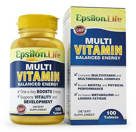 Epsilon Complejo Multivitaminas con Minerales - 100 Comprimidos - Fórmula Equilibrada Para Aumentar la Energía y