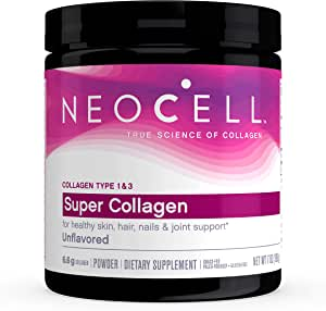 NeoCell Super Collagen Powder, 7 Ounces, Non-GMO, Grass Fed, Paleo Friendly, Gluten Free, Collagen Peptides Types 1 & 3 for Hair, Skin, Nails and Joints (Packaging May Vary), 30 Servings