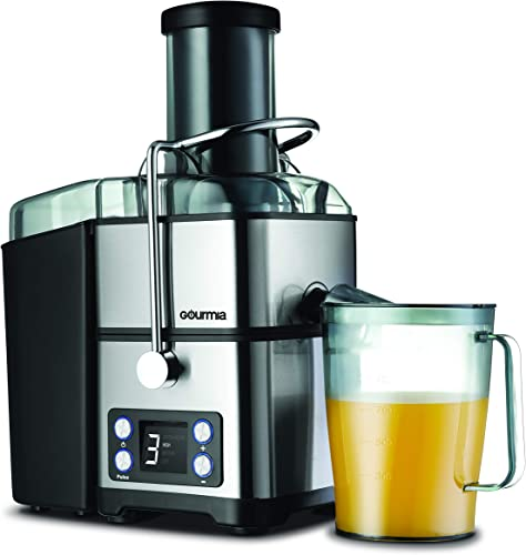 Gourmia GJ1350 Stainless Steel Wide Mouth Juicer Digital Display Whole Fruit Juicer Filtration System 4 Power Levels Dishwasher Safe Removable Parts 32-Ounce Juice Reservoir 800 Watts