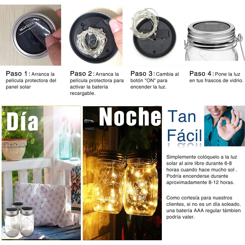 Glückluz Solar Mason Jar Lámpara Tapa del Tarro de Albañil Para la Boda del Jardín Botella DIY Al aire Libre Barbacoa Navidad Fiesta Boda Vacaciones (Mason ...