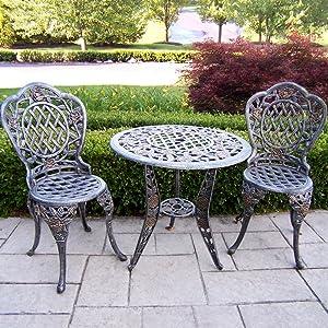 Oakland Living Tea Rose Cast Aluminum 3-Piece Bistro Set, Antique Bronze
