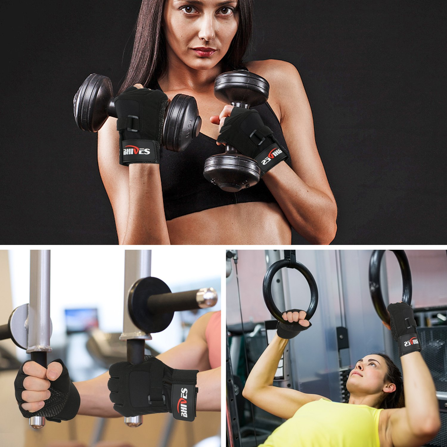 BHIVES Workout Weight Lifting Gym Gloves Full Palm Protection /& Extra Grip Weight Lifting Training Fitness Exercise Men /& Women