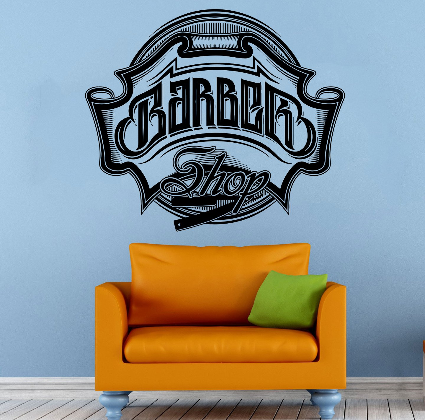 barber shop emblem wall vinyl decal housewares barbershop logo art barber shop emblem wall vinyl decal housewares barbershop logo art modern interior decor hairdressing sticker mural 016bs amazon com