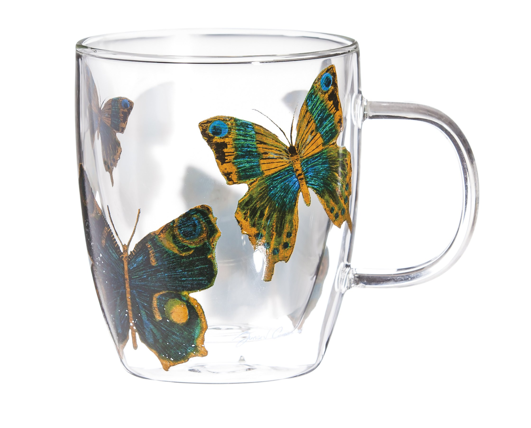 Cypress Home Butterfly Glass Coffee Cup, 12 ounces