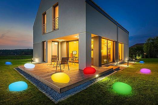 Bonetti LED Solar Jardín Lámpara de piedra/8 colores/cambio de color opcional/40 OD. 50 cm/IP67/RGB/Solar Bombilla/lámpara decorativa lámpara/ exterior/Jardín Lámpara/deko piedra/bombilla piedra/Stone: Amazon.es: Jardín