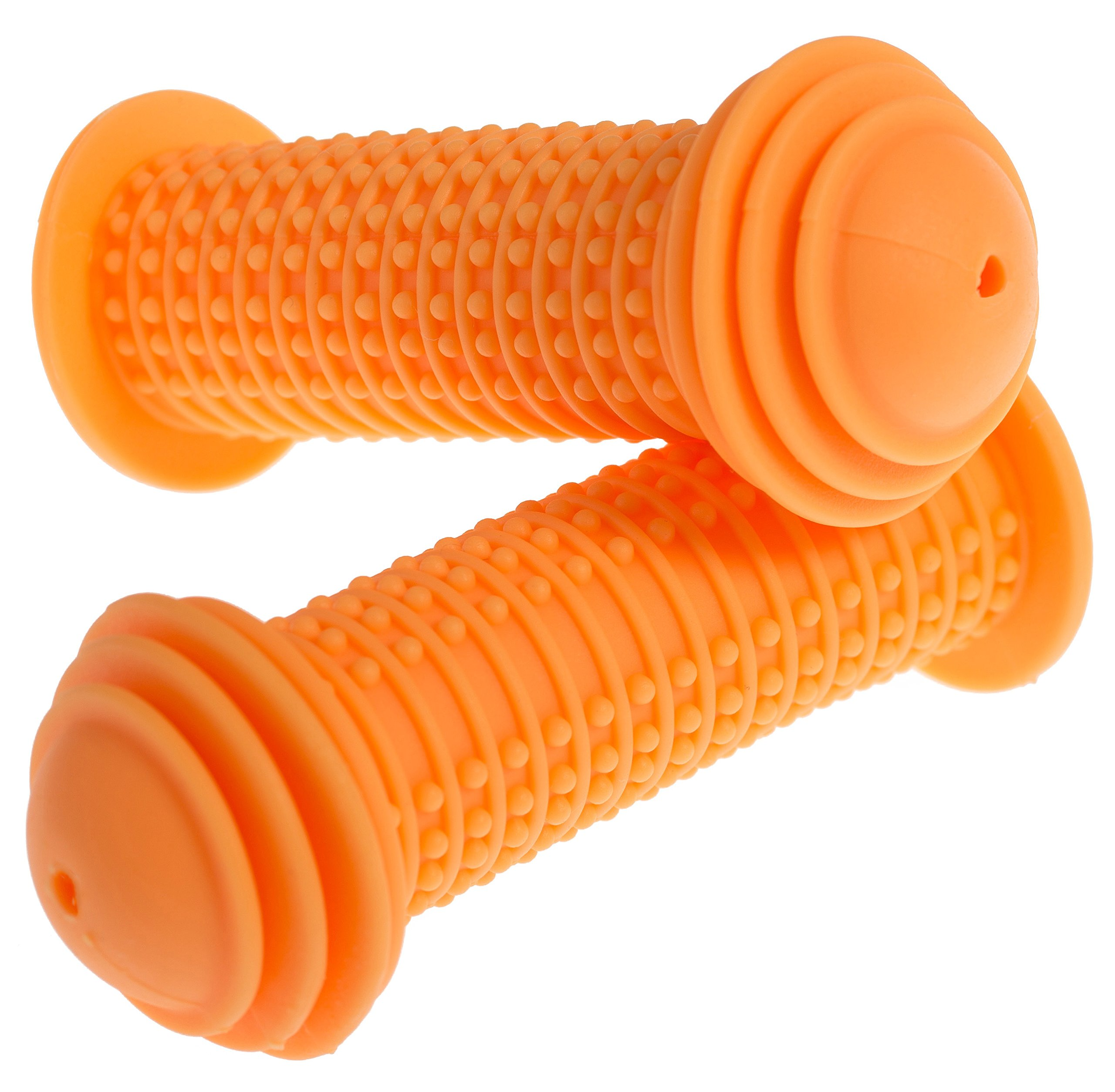 PROMETHEUS Kids Bike Grips 1 Pair in Orange   with SAFETY BAR END PADS   also for balance bike and scooter   22 mm Handlebar Grips   Child Safety Grip with SAFETY IMPACT ENDS   Edition 2018