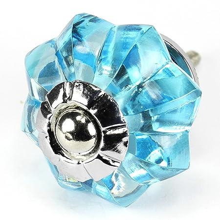 sky blue glass cabinet knobs kitchen drawer pulls handles set